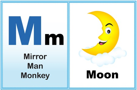 Alphabet letter M with clip-art and few similar words starting with the letter printable graphic for preschool / kindergarten kids