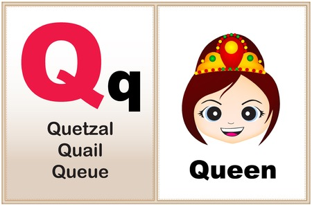 alphabet letter q with clip art and few similar words starting