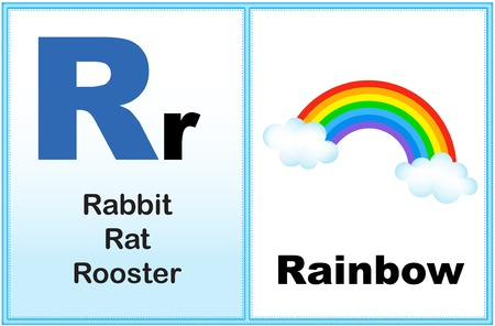 early learning: Alphabet letter R with clip-art and few similar words starting with the letter printable graphic for preschool  kindergarten kids Illustration