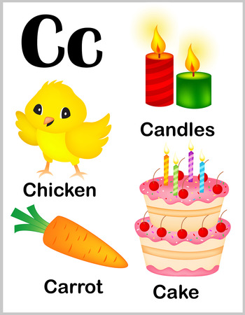 Cute and colorful alphabet letter C with set of illustrations and words printable sheet.