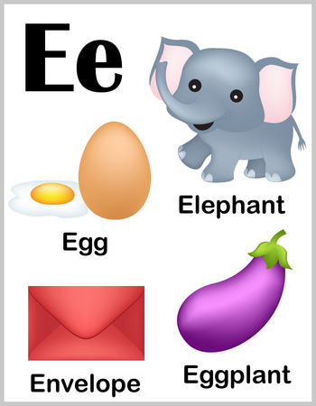 Cute and colorful alphabet letter E with set of illustrations and words printable sheet.
