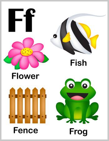 lettres alphabet: Mignon et color� lettre de l'alphabet F avec l'ensemble des illustrations et des mots feuille imprimable.