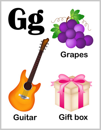 early learning: Cute and colorful alphabet letter G with set of illustrations and words printable sheet.