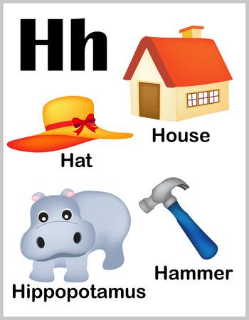 lettres alphabet: Mignon et color� lettre de l'alphabet H avec l'ensemble des illustrations et des mots feuille imprimable.