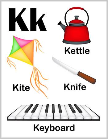 lettres alphabet: Mignon et color� lettre de l'alphabet K avec l'ensemble des illustrations et des mots feuille imprimable. Illustration