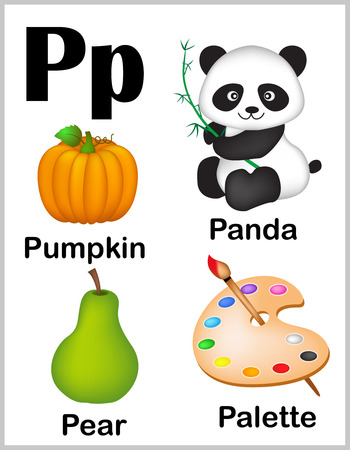 preschool: Cute and colorful alphabet letter P with set of illustrations and words printable sheet.