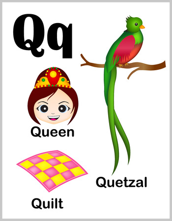 Cute and colorful alphabet letter Q with set of illustrations and words printable sheet.