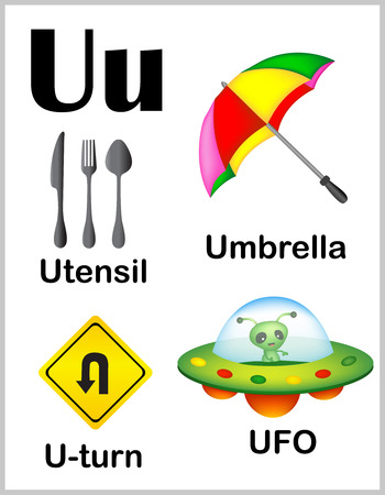 u turn: Cute and colorful alphabet letter U with set of illustrations and words printable sheet.