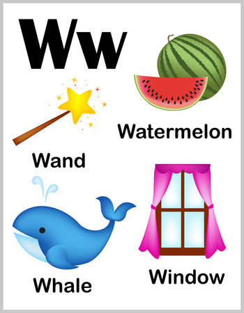 w: Cute and colorful alphabet letter W with set of illustrations and words printable sheet.
