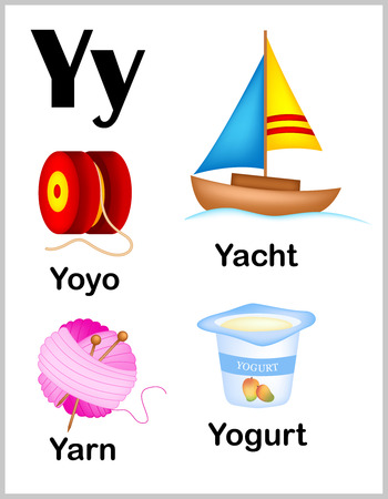 alphabet letter: Cute and colorful alphabet letter Y with set of illustrations and words printable sheet.