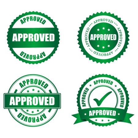 approbation: Approvato collezione timbro di gomma su bianco, illustrazione vettoriale
