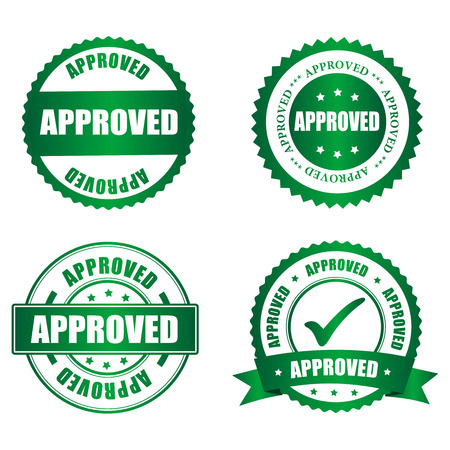 passed: Approved rubber stamp collection on white, vector illustration Illustration
