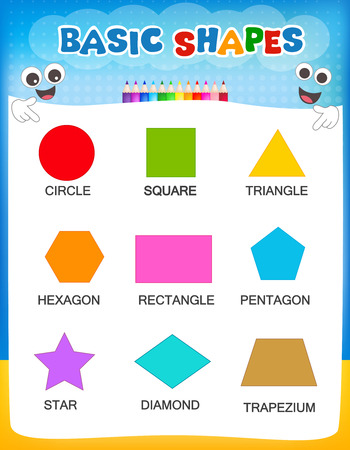 Collection of colorful geometric shapes and their names illustration isolated on white background for preschool / kindergarten children