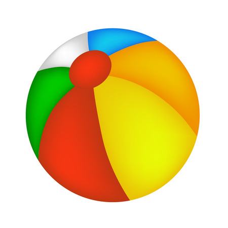 Colorful beach ball illustration isolated on white background