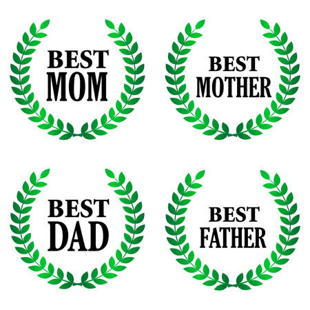 green day: Best mother and best father golden text with laurel specialy for fathers day and mothers day