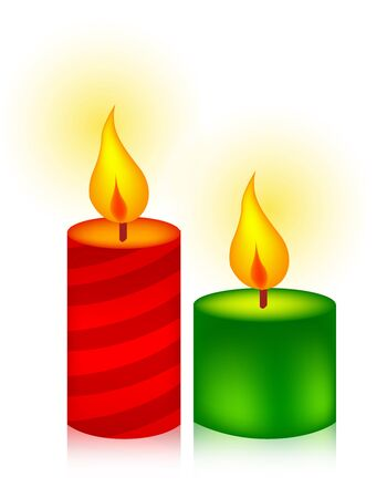 birthday religious: Two colorful burning candles in green and red specially for christmas designs. isolated on white