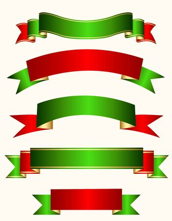 specially: Different shaped ribbon banner collection in red, green and gold mix isolated on white background specially for christmas designs