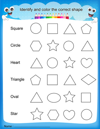 pre school: Identify and color the correct shape colorful printable kids worksheet for pre school kindergarten kids