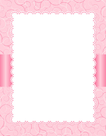 White lace background on  pretty pink texture and ribbon