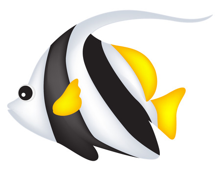 tropical fish: Cute black and white angel fish clip art isolated on white background