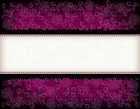 add text: Elegant purple rose and grunge halftone dot background with empty frame to add text
