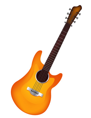 lead guitar: Illustration of a realistic vector guitar isolated on white background