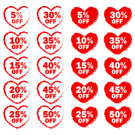pricetag: Collection of heart shapes red grunge discount tags  icons isolated on white specially for valentines day sale.