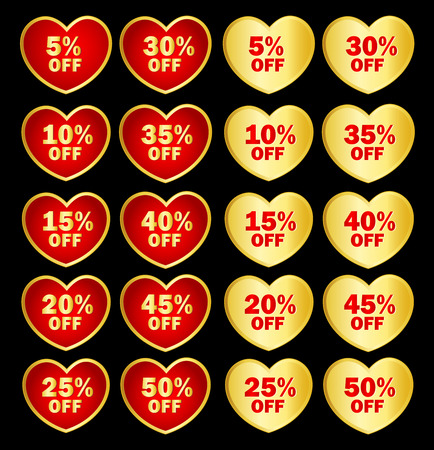 specially: Collection of heart shapes gold and red discount tags  icons isolated on black specially for valentines day sale. Illustration