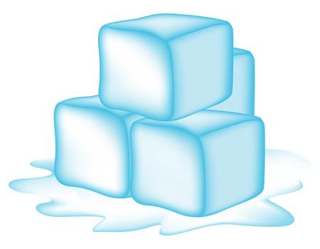 refrigerate: Ilustraci�n de cubos de hielo aislados sobre fondo blanco
