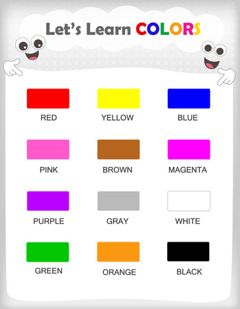 identifying: Printable kids learning sheet with 12different colors and their names for kindergarten  preschool kids