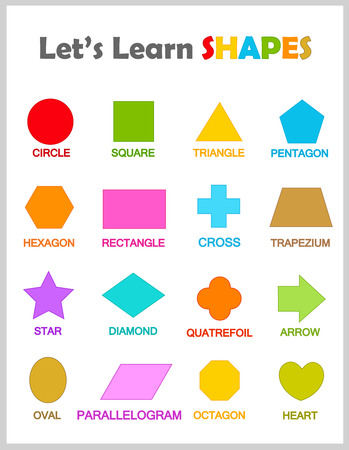 Colorful geometric shapes with their name clipart collection isolated on white background for preschool kids