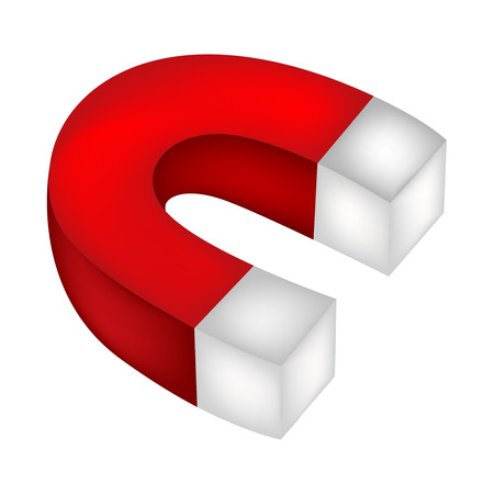 electromagnetism: Isolated illustration of a horder shoe magnet on white background