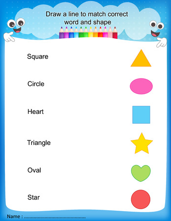 pre school: Draw a line to match correct word and shape colorful printable kids worksheet for pre school kindergarten kids