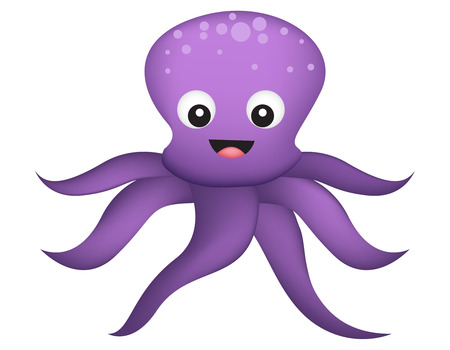Cute and colorfule happy octopus illustration isolated on white background