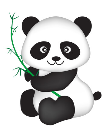 Cute black and white chinese panda bear illustration isolated on white background