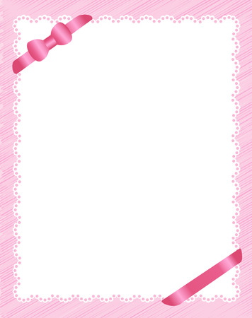 Pretty pink invitation background with ribbon bow on corners