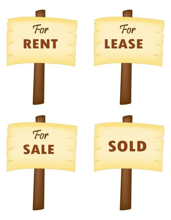 for rent: For sale, for lease, for rent , and sold wooden notice boards isolated on white background
