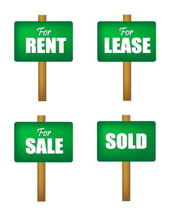 for rent sign: For sale, for lease, for rent , and sold notice boards in green isolated on white background