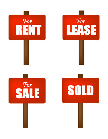lease: For sale, for lease, for rent , and sold notice boards in red isolated on white background Illustration
