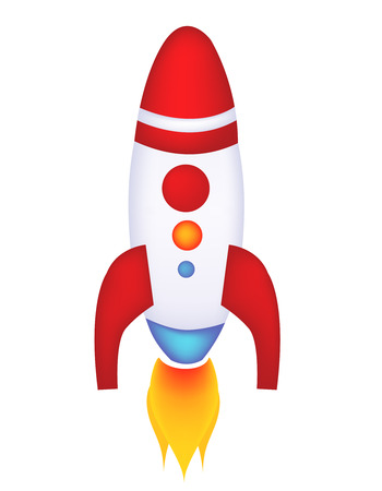 booster: Isolated illustration of a rocket  spaceship on white background