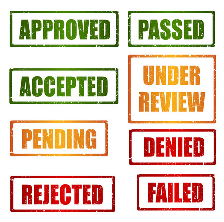 rejected: Set of approval , rejected, pending, under review grunge rubber stamps