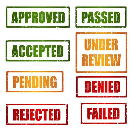 Set van goedkeuring, verworpen, in afwachting, onder beoordeling grunge stempels