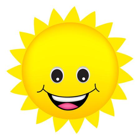 llustration van een leuke cartoon zon op een witte achtergrond Vector Illustratie