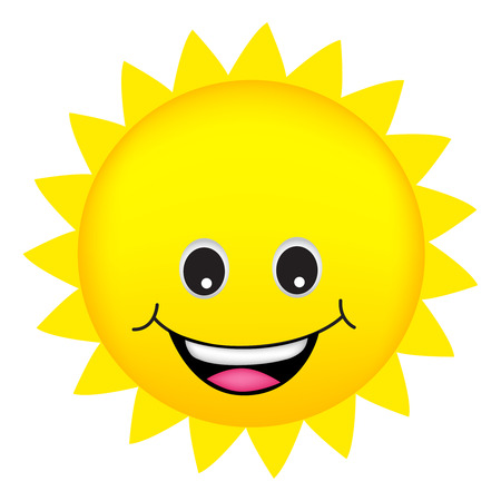 llustration of a cute cartoon sun isolated on white background Illustration