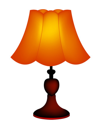 lamp shade: Isolated innustration of a table lamp  lampshade on white background