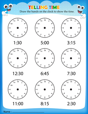 time clock: Telling time worksheet for pre school kids to identify the time. Clock faces without hands Illustration