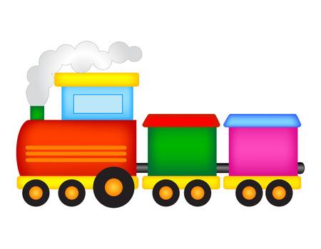 Ilustración de un tren de juguete de colores aislados sobre fondo blanco Ilustración de vector