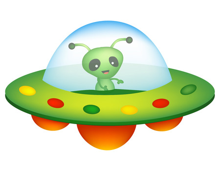 area 51: Illustration of a colorful cartoon UFO  unidentified flying object with a happy smiling alien inside isolated on white background