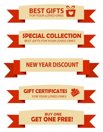 end of year: Collection of two color valentines day and year end sale banners with text and graphics Illustration