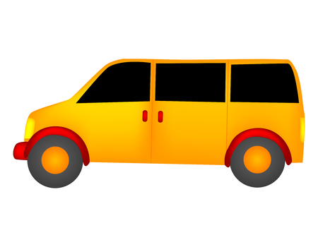 lading: Isolated illustration of a yellow color van on white background Illustration
